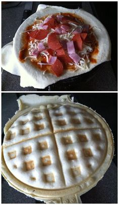 Pizza | 17 Unexpected Foods You Can Cook In A Waffle Iron I now need a waffle iron.... just for the pizza and cookie recipe alone.... birthday, christmas, house warming