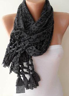 Dark Grey and Black Leopard Scarf by SwedishShop on Etsy, $17.90