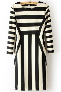 {Black White Striped Dress}