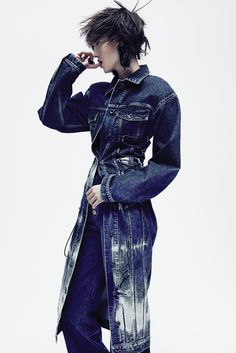 Stella McCartney's cotton and elastane denim dress and Public School's cotton jeans. Koché earring and ring.