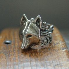 Silver Wolf Mask Ring Adjustable Filigree In White Bronze