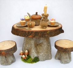 1/12TH scale FAIRY WITCH HOUSE - TABLE AND STOOLS SET - CUPCAKES AND KITCHENWARE BY LORY