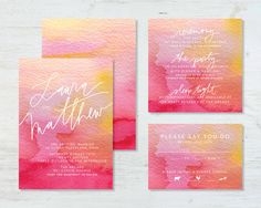 Watercolor Wedding Invitation Suite deposit by tingstationery