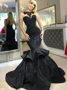 Buy Mermaid Bateau Black Satin Prom Dress with Appliques Ruffles  199.99 -  Youthflower.com Formal bef5efaf4dca