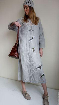 """Купить Платье из льна в стиле бохо """"Колибри"""" - серый, однотонный, платье, льняное платье"""