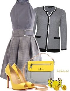 """Sunshine and Gray"" by lashandanista ❤ liked on Polyvore"