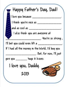 Fathers Day Survey Printable