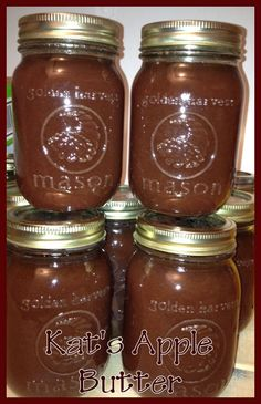 Kat's Apple Butter made from fresh applesauce in the crockpot..Rich and Delicious..