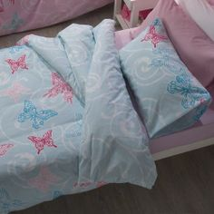 Flutter is also lovely in blue, pink bed linen co-ordinates perfectly Pink Bed Linen, Linen Bedroom, Linen Bedding, Linen Store, Blue Butterfly, Designer Collection, Duvet Cover Sets, Swirls, Home Accessories