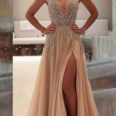 Deep V Prom Dress,Beaded Prom Dress..