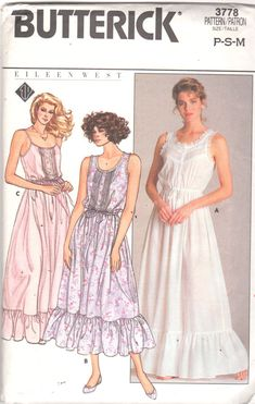 Butterick 3778 1980 Shorten it add sleeves and take away the ruffle and you have a really beautiful romantic style dress! Vintage Sewing Patterns, Clothing Patterns, Dress Patterns, Retro Outfits, Vintage Outfits, Vintage Fashion, Laura Ashley Wedding Dress, Dirndl Skirt, Nightgown Pattern