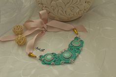 Soutache necklace, handmade necklace, mint green necklace, light purple necklace, evening necklace, handmade gift, sopping online, gift idea, mother gift, gift for her, jewelry gift, evening look, unique jewelry, unique necklace, etsy jewelry, buy jewelry,  beaded jewelry, beaded necklace, beads necklace, beads jewelry, gift for girlfriend, gift for women, long necklace, pastel jewelry, ivory necklace,statement necklace, mint green statement necklace, crystal necklace, bib necklace