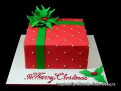 Explore my gallery of Christmas fondant cakes to inspire you to design your own unique Christmas cakes or if you are looking for a Christmas cake in Sydney. Christmas Present Cake, Fondant Christmas Cake, Chocolate Christmas Cake, Christmas Deserts, Christmas Cupcakes, Christmas Baking, Red Christmas, Christmas Cake Designs, Christmas Cake Decorations