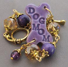 Dog Mom Bracelet Purple Dog Bone Gold Crystals  at For Love of a Dog