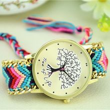 Hot Sale Handmade Weave Rope Tree Of Life Bracelet Watch Women Quartz Wristwatch Fashion Ladies Watch Montre Femme Relojes Mujer(China (Mainland))