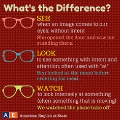 """In English, the words """"see,"""" """"look,"""" and """"watch"""" have similar meanings. Thus, it can be difficult to know which one to use sometimes. Check out this American English at State graphic to help you understand the different meanings of these three words! #AmericanEnglish"""