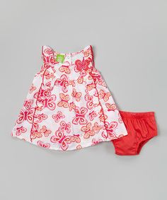Love this Red Butterfly Ruffle Dress & Diaper Cover - Infant & Toddler on #zulily! #zulilyfinds
