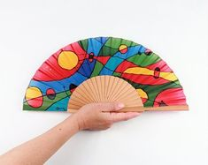 Vintage Fans, Hand Fans, Textiles, Dani, Etsy, Abstract Paintings, Painted Silk, Painted Fan, Painted Rocks