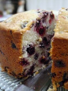 Blueberry Pound Cake-it has four cups of blueberries in it, looks simple. You could even mix it up and use different berries like raspberries with them. I think a simple strudel topping would be good on it.