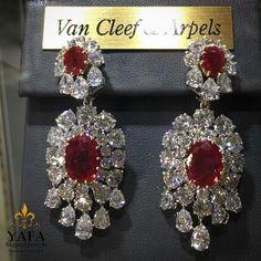 #Vancleef ruby and diamond earrings,