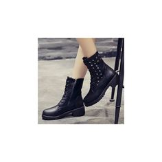Studded Mid-calf Boots ($73) ❤ liked on Polyvore featuring shoes, boots, footware, mid calf length boots, studded boots, black mid calf boots, black calf length boots and mid-heel boots