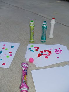 Bingo Dauber fun!  We had a blast the other day painting with bingo daubers.  If you hit them hard they splat, you can make polka-dots, drag them across paper for lines whatever your little one desires! We were making cards to send to our friends to say we are thinking of them!