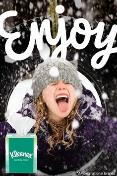 Catching snowflakes or a little cold? KLEENEX® Brand has you covered: America's Softest Lotion Tissue. Tough on winter, soft on noses. I Love Winter, Big Photo, Birthday Photos, Toddler Fashion, Making Ideas, Snowflakes, Lotion, Backdrops, Christmas Crafts