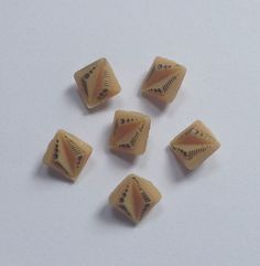 Beige Gold Tiny Art Deco Glass Buttons Sewing Craft Collector