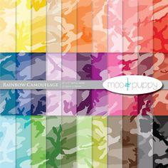Digital Scrapbook Paper Pack  --  Rainbow Camouflage -- INSTANT DOWNLOAD