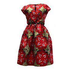 Yvonne African Print Dress (Red/Olive)