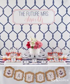 nautical bridal shower party ideas pink and navy bridal shower wwwkateaspen