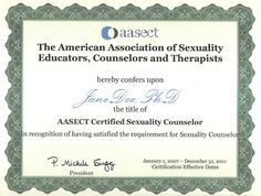 AASECT certification: the national standard for American sex therapists, and one of my major career goals