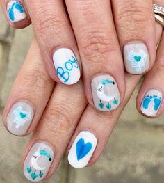 It's a boy - gender reveal baby nails #nailart #babyshower #genderreveal #itsaboy