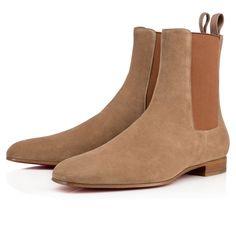 cf9edde22b33 ROADIE VEAU VELOURS , CAMEL, Veau velours, Men Shoes, Louboutin. Leder Kleid
