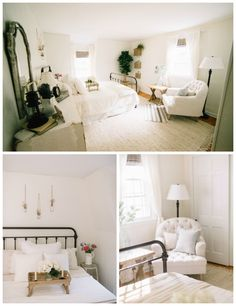 Farmhouse Guest Bedroom Ideas // Our farmhouse guest bedroom features a bright neutral room with jute accents