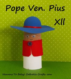 Pope Ven. Pius Xll (1876-1958) is wearing his SATURNO hat. It can be made in a few minutes---it is the rounded half of a plastic Easter egg! His trademark wire-rimmed glasses are even easier to make! Heavens To Betsy! Catholic Crafts. com