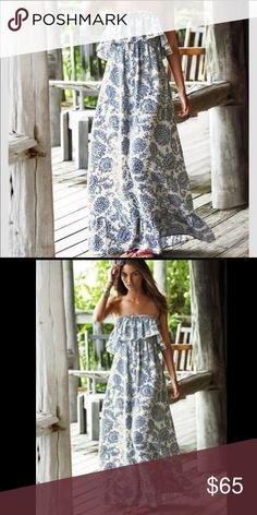 Blue and White Floral Maxi Beautiful blue and white floral maxi with ruffles Dresses Maxi