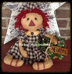 * Primitive Raggedy ANN doll ~ COUNTRY doll ~ GATHER basket ivy/pip berry ANNIE #NaivePrimitive