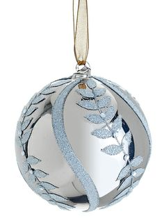 """XGN518-SI ~~ 4"""" Beaded Glass Leaf Pattern Ball Ornament Silver"""