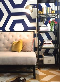 """Name: Whitney Location: Gramercy Park, New York, New York There is a lot going on in my little studio, in line with my """"more is more"""" style. I like large patterns and bright colors and didn't want to shy away from them just because my space is so small (450 square feet)."""