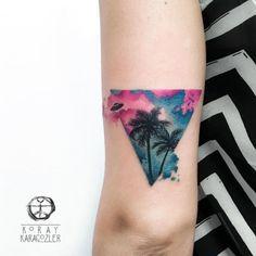 Back Arm Tattoo by Koray Karagozler Hawaiianisches Tattoo, Tattoo Motive, Mini Tattoos, Body Art Tattoos, Small Tattoos, Tatoos, Back Of Arm Tattoo, Tattoo Designs, Aquarell Tattoos