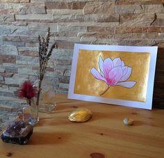 #art #etsyshop #etsy #goldleafimitation #goldleaf #illustration #gold #artofgold #metallicleaf #flower #watercolor #originalart #magnolia
