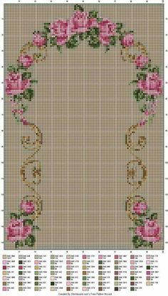 Nice embroidery stitch towel with pattern schema. Cross Stitch Rose, Cross Stitch Borders, Cross Stitch Flowers, Cross Stitch Designs, Cross Stitching, Cross Stitch Patterns, Diy Embroidery, Cross Stitch Embroidery, Embroidery Patterns