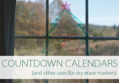 Countdown calendars on the window with whiteboard markers