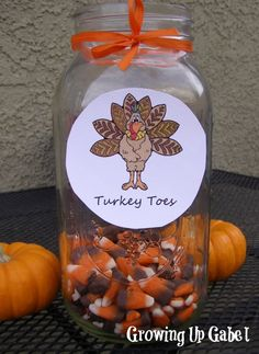 Thanksgiving Craft: Turkey Toes **Have girls guess how many turkey toes are in a small mason jar as a game! Closest wins and takes home! Free Thanksgiving Printables, Thanksgiving Crafts For Kids, Thanksgiving Parties, Thanksgiving Table, Thanksgiving Decorations, Fall Crafts, Holiday Crafts, Holiday Fun, Diy Crafts
