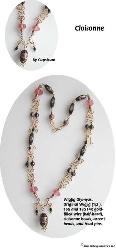 Cloisonne Wire and Beads Necklace made with WigJig jewelry making tools and jewelry supplies.