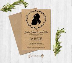 Beauty and the Beast Wedding Invitation Kraft Paper Printable Digital File Princess Fairytale Announcement Unique Custom Elegant Boho Chic