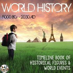 Timeline Book of Historical Figures and World Events. This is such a great way for students to connect time and history. A cheaper option for families and classrooms that are looking to help their students connect events to real time and make it come alive.