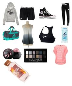 """""""Dance bag essentials"""" by funkyballerina on Polyvore featuring Victoria's Secret, Converse, adidas, lululemon, NIKE, Degree, Maybelline and Replace"""