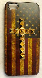 New iPhone 5/5s Vintage American Flag Case w/Bronze Copper or Silver Studded Cross, ONLY $18 with Fast & Free Shipping! | eBay